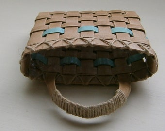 Woven Paper Basket, Recycled Kraft Paper with Aqua Trim, Small 4x4, Handmade