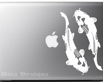Japanese Koi vinyl decal - Macbook decal - Japanese decal - Japanese Art - Tatto decal - Tattoo Flash