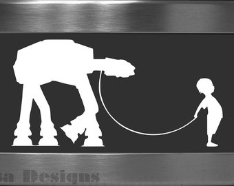 A Boy and His At - At vinyl decal - Car decal - MacBook decal - AT - AT decal - Star Wars decal - Stormtrooper decal