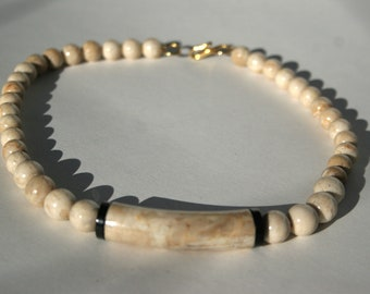 Tribal Choker Necklace Bone White Howlite Stones with Cognac Viens Graduating Bead Curved Throat Pipe Gold Shepards Hook Clasp