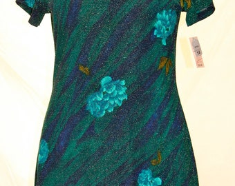 Vintage 80s Betsy's Things Cocktail dress, floral, green/blue/teal/gold metallic, short sleeve, never worn, size 14