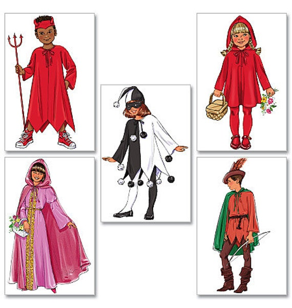 NEW Butterick Pattern 4319 Toddler, Child  (4 -14yrs) Girl and Boy- Little Red Riding Hood, Robin Hood, Maid Marian, Devil & Jester Costume