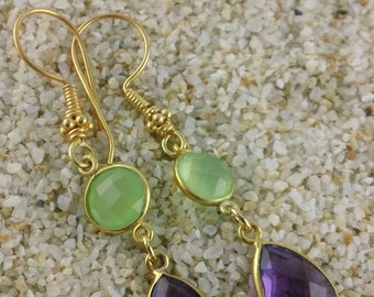 Peridot Green Chalcedony and Amethyst Earrings