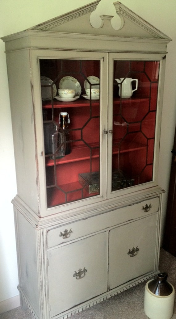 Antique China Cabinet Distressed Furniture Painted Furniture
