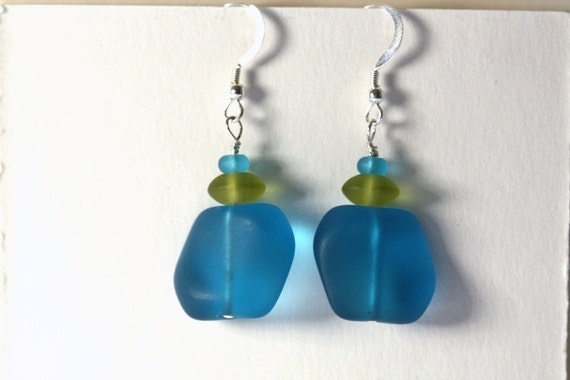 Aqua and Olive Sea Glass Bead Earrings
