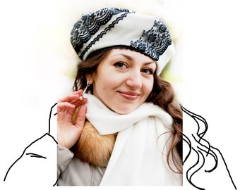 OOAK black and white beret and scarf set, warm woman hat, textile black lace accessories