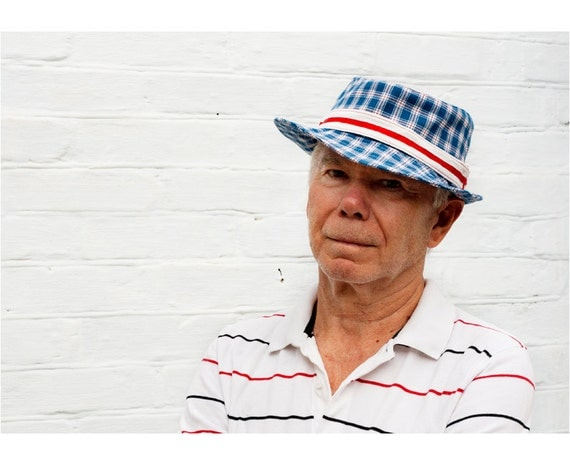 Made to order cotton man fedora hat, blue chequered summer hat with white and red ribbon