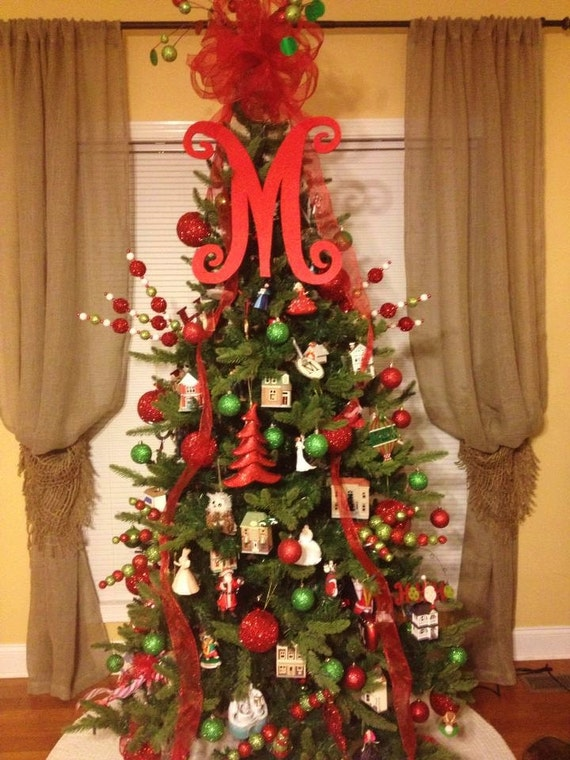 Monogram christmas tree topper front door letter by for Christmas tree letters