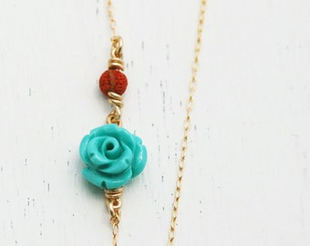 Bridesmaids gold necklace, gold necklace, rose necklace, turquoise pendant, red coral necklace, turquoise bridesmaid necklace, rose gold