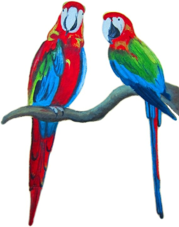 Acrylics Oil Painting Handy Paper Bags - Perfect for Gifting - Original painting - Macow Parrot