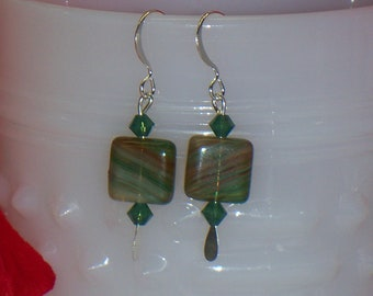 Natural (Green-browish) Swarovski Swirl Dangle Earrings