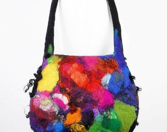 Felted Bag Multicolor Handbag Felt Purse Rainbow Bag wild Felt Nunofelt Nuno felt Silk Silkyfelted Eco handmade rainbow multicolor fairy