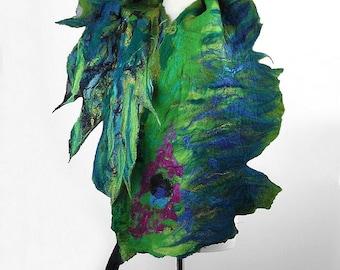 Felted Scarf Peacock Scarf Nunofelt Wrap nunofelt Scarves Nuno felt Silk jade scarf multicolor peacock shawl Fiber Art