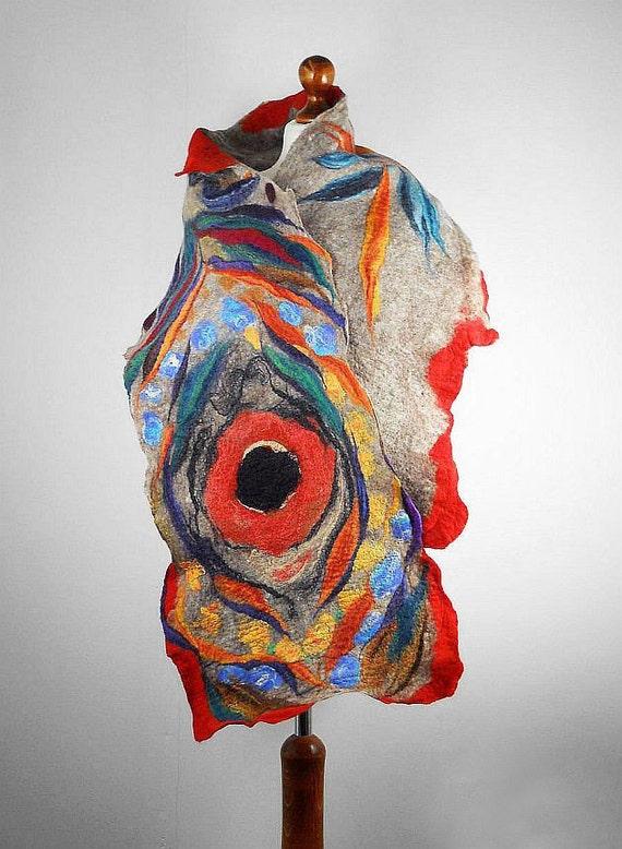 Desinger Scarf Nunofelt Scarf Felted Scarf  Long Wrap Scarves Felt Nunofelt Nuno felt Silk wearable art shawl