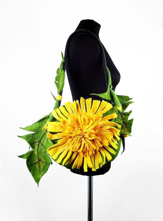 Felted Bag DANDELION Handbag Art Purse wild Felt Nunofelt wearable art Nuno felt shoulder bag Silk yellow fairy floral fantasy boho