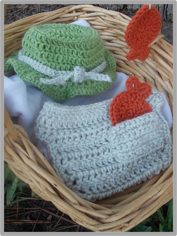 Baby fishing hat and diaper cover pattern instant download for Baby fishing hat