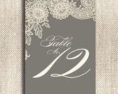 Vintage Lace / Custom Color Printable / 15 Table Numbers