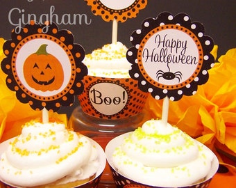 Printable Halloween Cupcake Toppers-Halloween Party Printable Halloween Cupcake Topper-Jack O Lantern Party-Halloween Printable Party-Fall