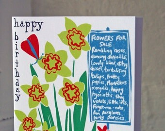 Beautiful Happy birthday greeting card.  Modern cottage market Flowers print.