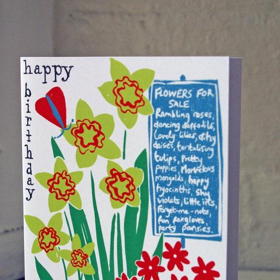 Beautiful Happy birthday greeting card.  Modern cottage market Flowers print.