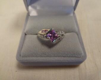 10k PINK Topaz & Diamond Ring White Gold Size 6 I Love Pink Gift Anniversary Birthday