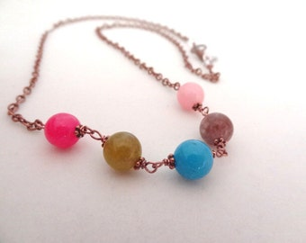 Candy Fun Copper Multi-colored Quartz handmade crystal Necklace Jewelry Pink Blue Green Brown Rose Quartz Dyed Quartz Colorful Beads