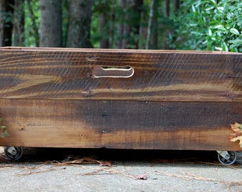 X-Large Industrial Rolling Crate/ Reclaimed Wood/ Storage Bin/ Wooden Crate