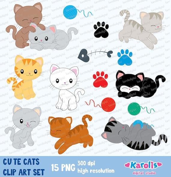 Cute cats digital clip art set Personal & commercial use ...