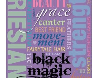 Friesian Horse Typography Word Art Design Printable 8 x 10 Wall Poster Type Sign - DIY Print & Frame Keep Calm