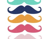 60% OFF SALE  Digital Clip Art   Digital Texture  Movember  Green, Blue, Yellow, Pink Moustaches