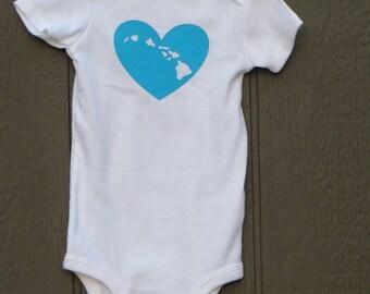 Hawaiian islands baby bodysuit heart