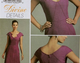 Dress Divine Details Vogue Pattern 8576  Uncut Sizes 4-6-8-10  Bust  29.5-30.5-31.5-32.5""
