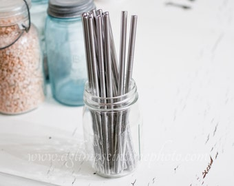Set of 4 Wide Eco Friendly Stainless Steel Straws DIY Weddings, Parties, Everyday Use