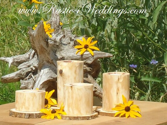 etsy wedding decor items similar to 4 rustic cedar candle holders rustic 3939