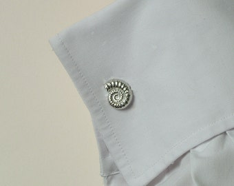 Ammonite fossil cufflinks, fossil gifts, pewter & silver  jewelry