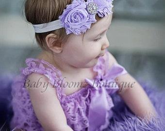 Baby Headband Shabby Headband Shabby chic Headband Lavender flower headband rhinestone newborn headband flower headband baby girl headband