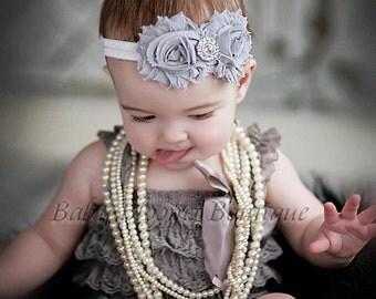 Baby Headband Shabby Headband Shabby chic Headband  Gray rhinestone newborn headband flower headband baby girl headband