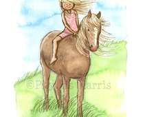 "Children's Wall Art Giclée Print 13 x 19"" - Horse Girl - Girl's room decor- customizable hair and dress color on girl"