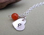 Sterling Silver Personalized Necklace - Hand Stamped heart initial charm w/h Carnelian Wire Wrapped Faceted Gemstones