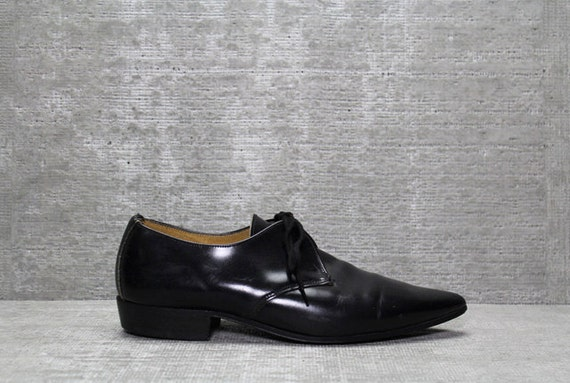 Vtg 80s Black Oxford Lace up Leather Pointy Minimalist Shoes 9 8.5 8 1/2