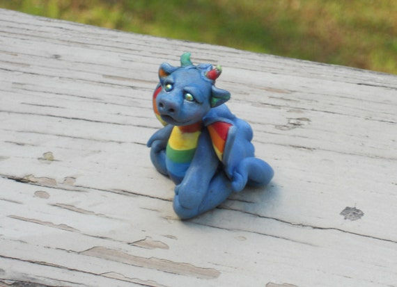 Polymer clay rainbow baby Dragon with iridescent multicolored eyes, miniature