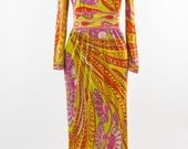 RESERVED FOR vintage 60's Emilio Pucci orange pink green print silk maxi dress