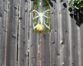 Butterfly Wine Bottle Windchime - Bottles Patio Yard Glass Beach Wedding Decoration Personalization Outdoor Recycled Mothers Day Ornament