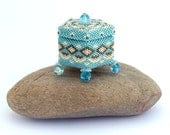 Beadwoven Jewelry Box, Turquoise Beaded Keepsake Box, First Tooth Box