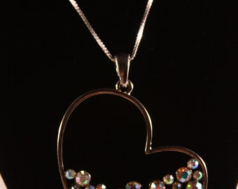 Beautiful sterling silver heart necklace with Aurora Borealis rhinestones