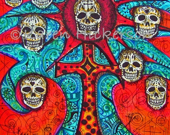 Dia de los Muertos FOLK ART PRINT ~ Mexican Tree of Life Sugar Skull ~ Day of the Dead Abstract Print of Original Painting ~ Karen Hickerson