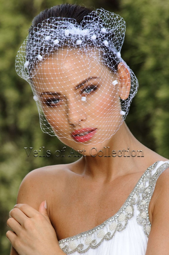 Russian Netting Birdcage Veil Blusher with Chanelle Dots by Veils of Art Style VE502
