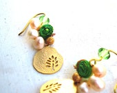 20% off Green & Gold Peridot Pearl Earrings with Tree Pendant, Batik Fabric, Swarovski Crystal, Elegant, Sweet