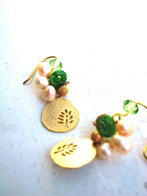 20% off Green & Gold Peridot Pearl Earrings with Tree Pendant, Batik Fabric, Swarovski Crystal, Elegant, Sweet