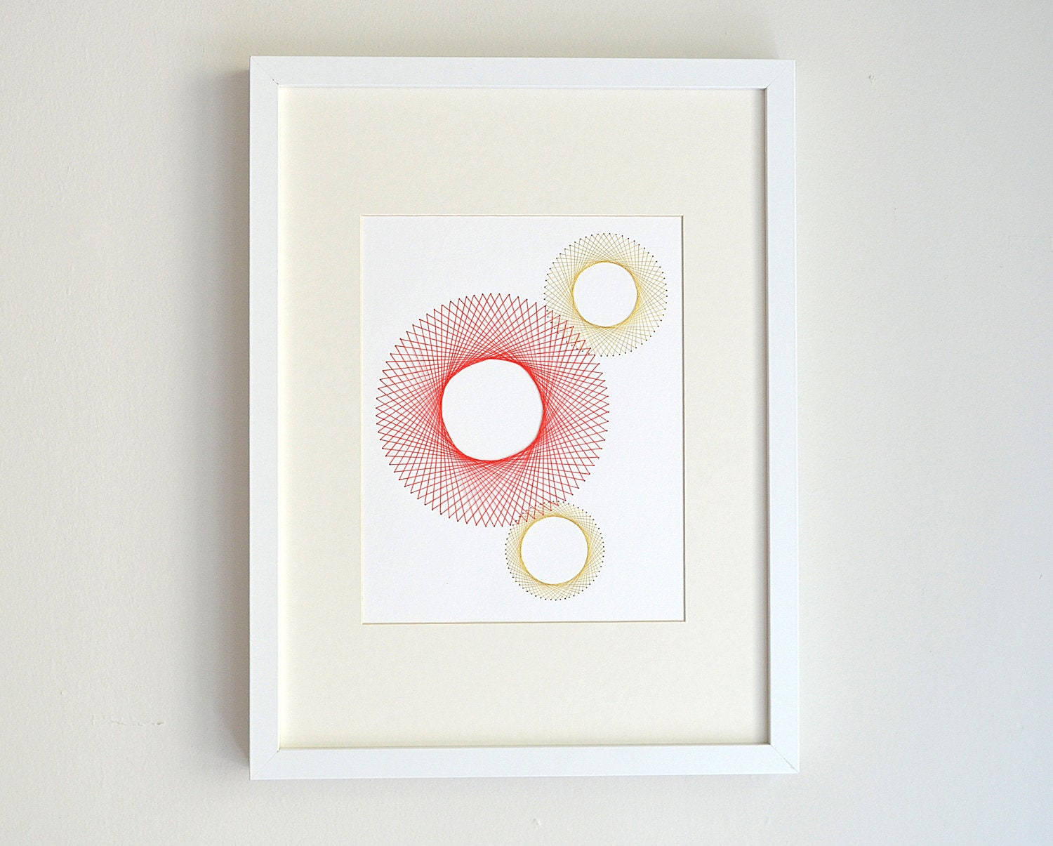 Gold Circles Wall Decor : Coral and gold wall art geometric circles embroidered design